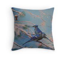 Winter Bluejays Throw Pillow