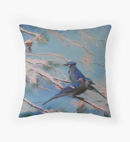 Winter Bluejays Throw Pillow