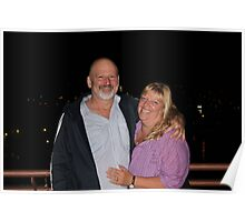 the happy couple on the roof top bar of thier motel in Poros Poster