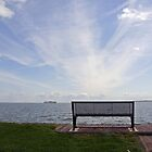 Park bench on the shore of the North Sea Volendam by Christa Knijff