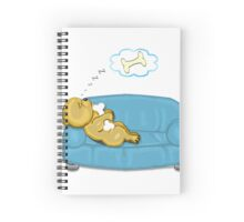 Snooze Poop Dog on sofa with bone Spiral Notebook
