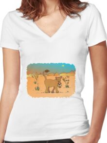 Nosey lioness Women's Fitted V-Neck T-Shirt