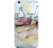Fishing Boats at Hastings' Beach iPhone Case/Skin