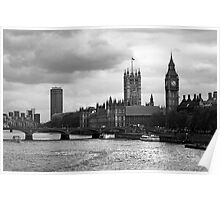 Parliment, Big Ben, and River Thames Poster