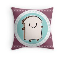 Happy Bread Slice Throw Pillow