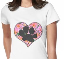 Pawprint in Heart with Pink Flowers Womens Fitted T-Shirt
