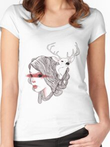 deer girl Women's Fitted Scoop T-Shirt