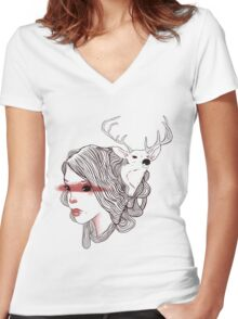 deer girl Women's Fitted V-Neck T-Shirt