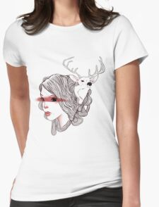 deer girl Womens Fitted T-Shirt