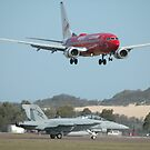 Virgin 737 & RAAF Super Hornet by muz2142