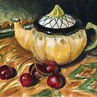 Teapot and Cherries Still Life by Michael Beckett