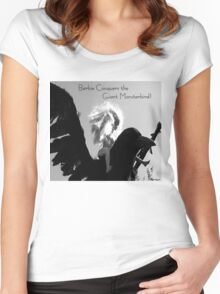 Barbie Conquers the Monsterbird w/ Text Women's Fitted Scoop T-Shirt