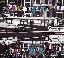 Washing line on a boathouse in Amsterdam by Stefanie Sharp