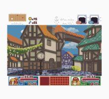 Town View - Cute Monsters RPG - Pixel Art Kids Tee