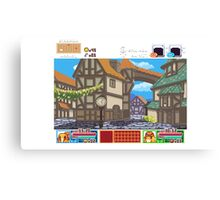 Town View - Cute Monsters RPG - Pixel Art Canvas Print