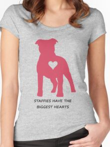 Staffies have the biggest hearts Women's Fitted Scoop T-Shirt