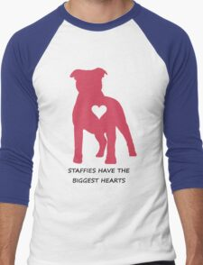 Staffies have the biggest hearts Men's Baseball ¾ T-Shirt
