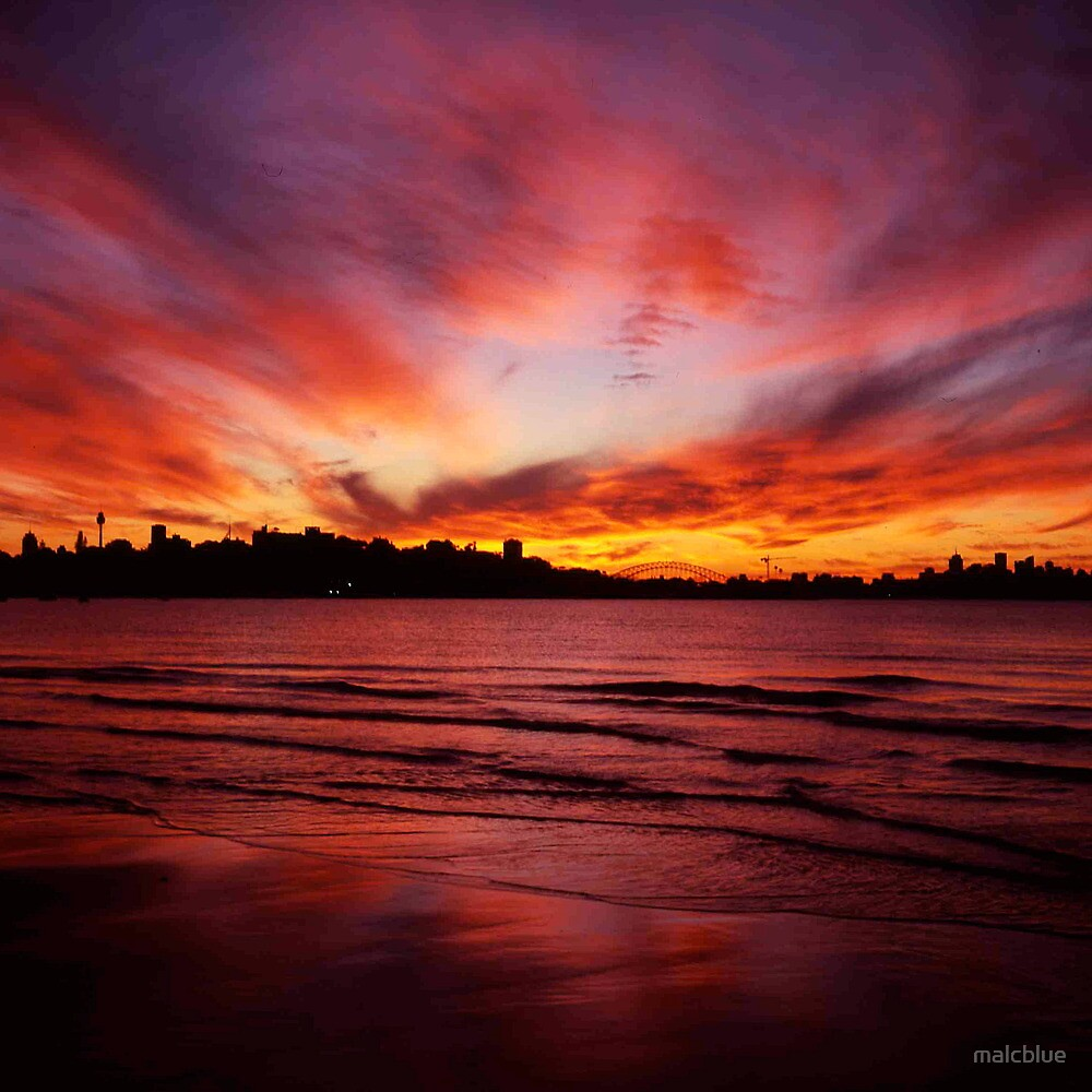 Sunset waters, Sydney Skyline from Rose Bay. by malcblue