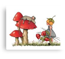 Sleeping Mouse, Toadstool, Girl and Poppies Canvas Print