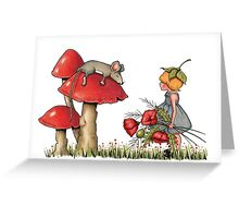Sleeping Mouse, Toadstool, Girl and Poppies Greeting Card