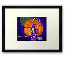 Watch for me by the pumpkin moon Framed Print