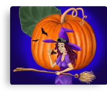Watch for me by the pumpkin moon Canvas Print