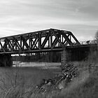 B+W Version of the Tunnel Island Train Bridge by Samantha Zroback