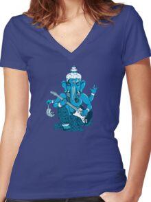 Ganesha rocks ! Women's Fitted V-Neck T-Shirt