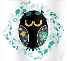 Whimsical Owl Floral Pattern Vector Illustration Poster