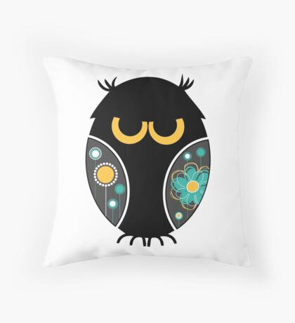 Whimsical Owl Floral Pattern Modern Vector Illustration Throw Pillow