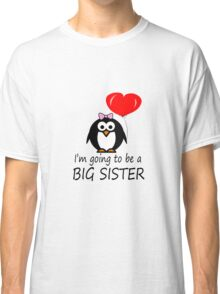 Big sister for sibling penguin cartoon geek funny nerd Classic T-Shirt