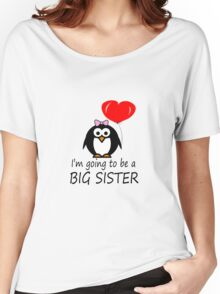 Big sister for sibling penguin cartoon geek funny nerd Women's Relaxed Fit T-Shirt