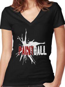 Paintball Red-White Women's Fitted V-Neck T-Shirt