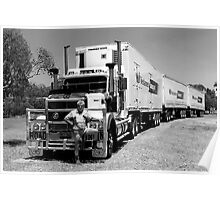 Triple Road Train with Truckie Poster