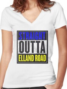 STRAIGHT OUTTA ELLAND ROAD Women's Fitted V-Neck T-Shirt