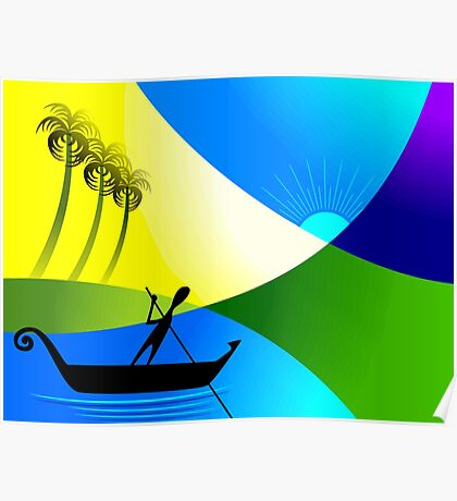 Man enjoying the beauty of the sea by sailing in the boat Poster