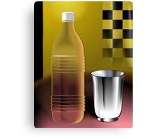 Water bottle and steel glass Canvas Print