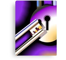 Lock and key in a dark back ground Canvas Print