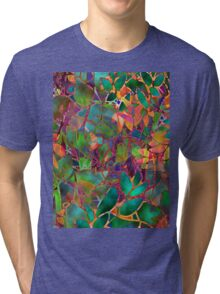 Floral Abstract Stained Glass Tri-blend T-Shirt