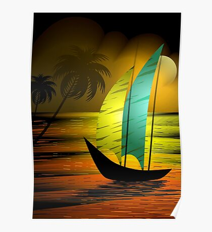 Beauty of the sail boat on the sea during sun set Poster