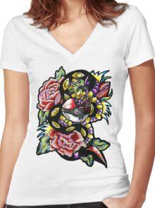 Seviper-pokemon tattoo collaboration Women's Fitted V-Neck T-Shirt