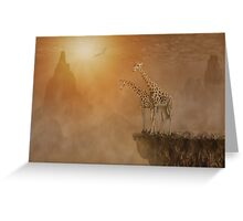 Two giraffes at  the high mountain Greeting Card