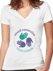 Official Mixed Connective Tissue Disease Logo Women's Fitted V-Neck T-Shirt