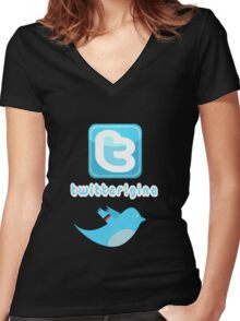 Twitterigine [-0-] Women's Fitted V-Neck T-Shirt