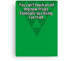 You can't teach an old dog new tricks. Especially sky diving. I've tried. Canvas Print