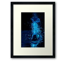 Blue Perfume Bottle Shooting Off Its Stopper Framed Print