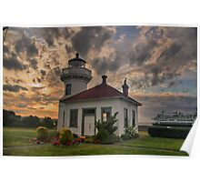 Mukilteo Lighthouse at Sunset Poster