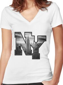 NY Women's Fitted V-Neck T-Shirt
