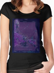 Massachusetts  USGS Historical Topo Map MA Edgartown 351665 1944 31680 Inverted Women's Fitted Scoop T-Shirt