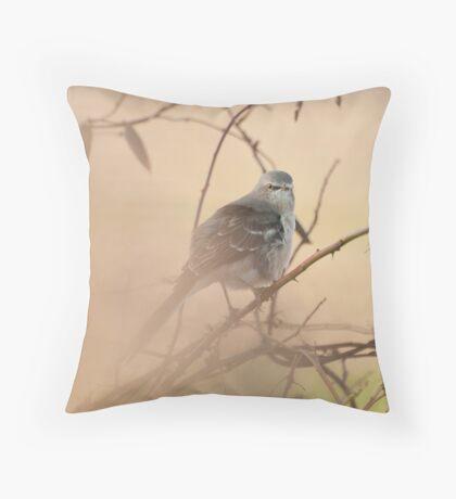 MOCKINGBIRD ON A FOGGY MORN Throw Pillow
